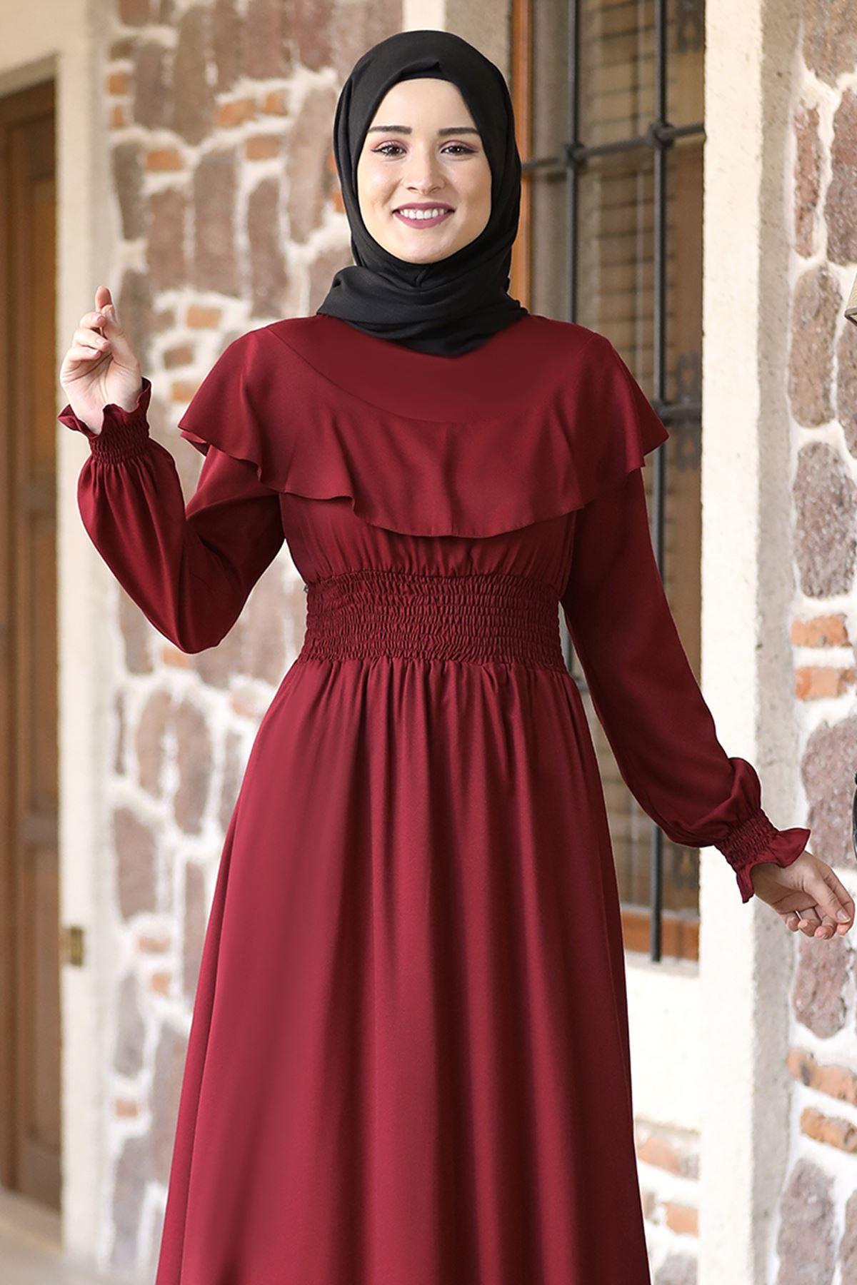 Rana Zenn Nazar Elbise Bordo RAN6931