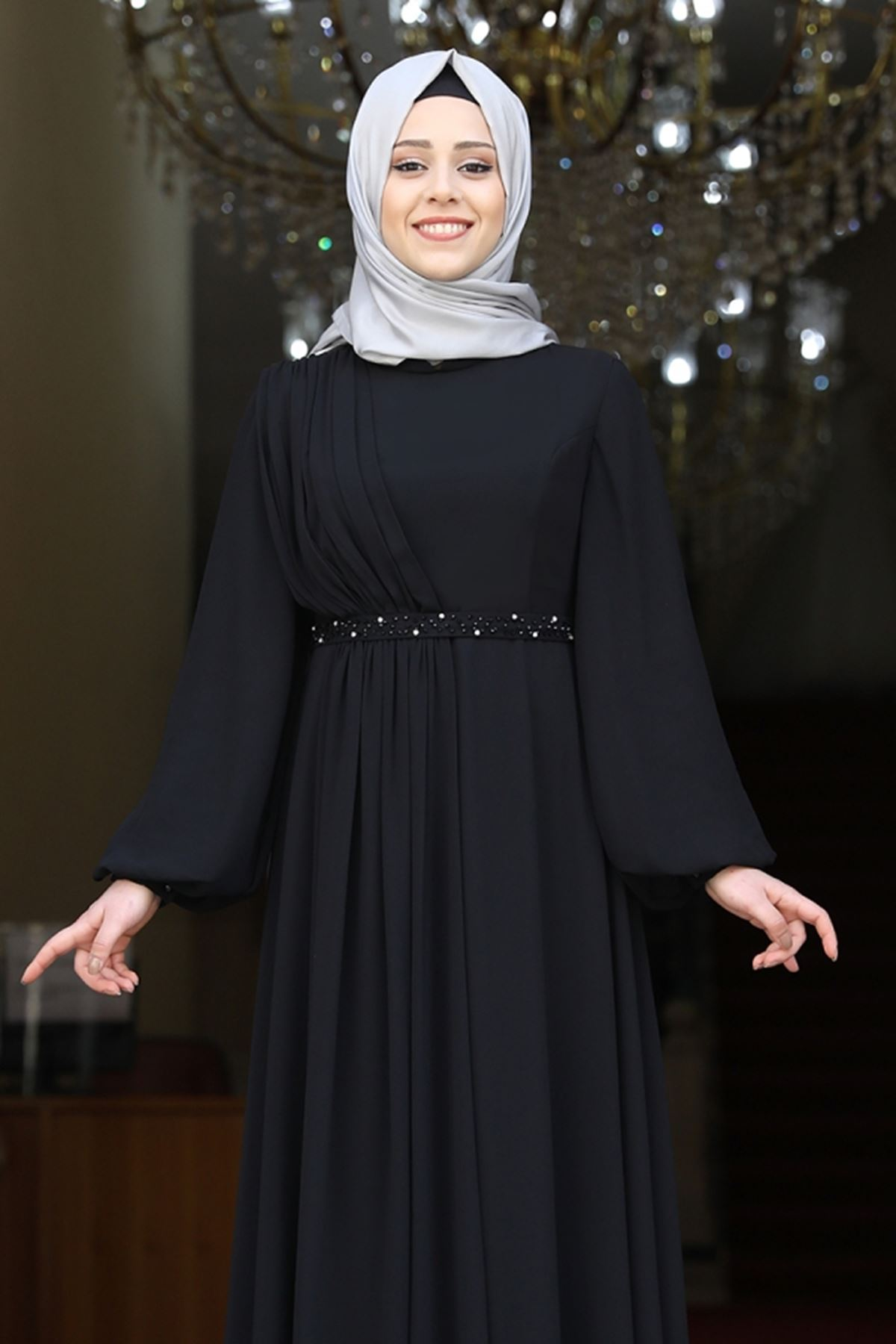 Amine Hüma Ahsen Elbise Siyah AMİ1051
