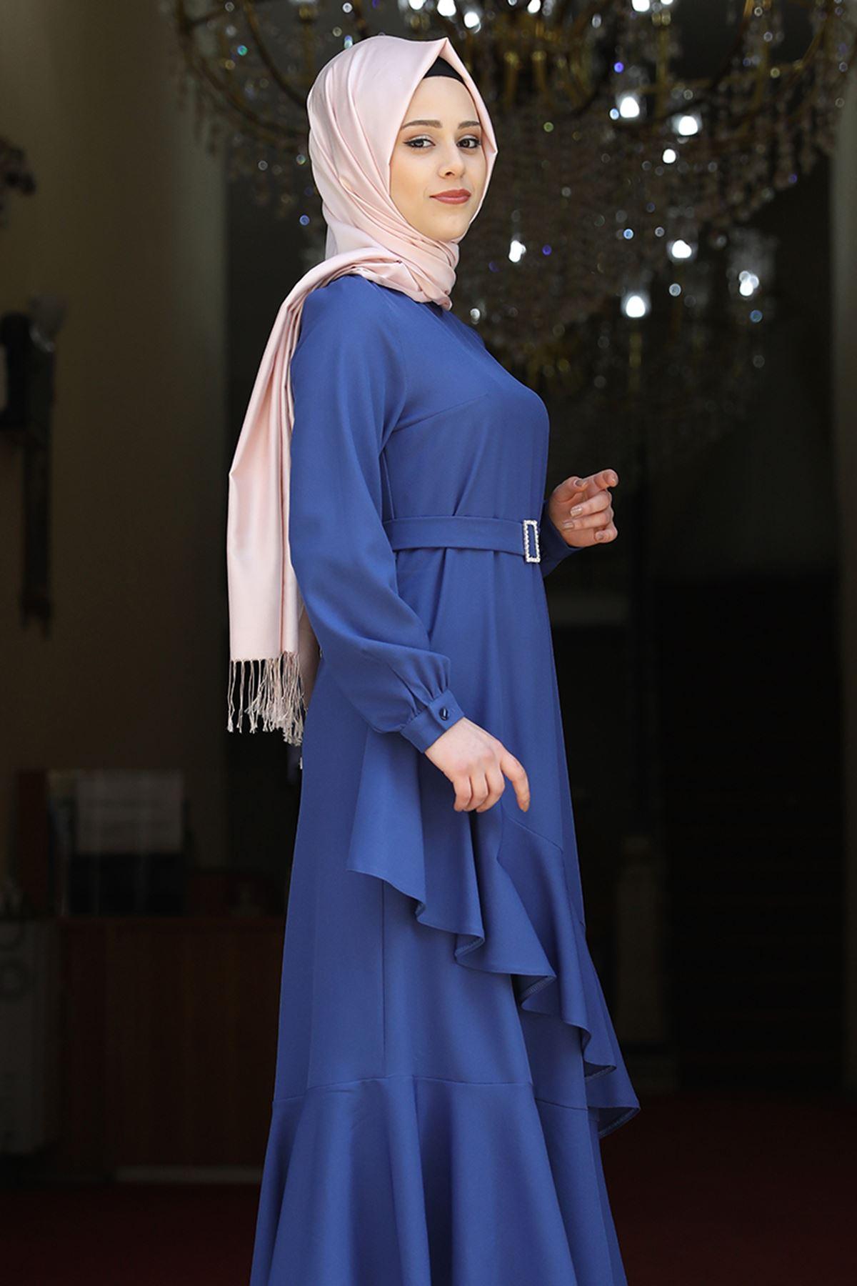 Amine Hüma Ceylin Abiye Saks Mavisi AMİ1056