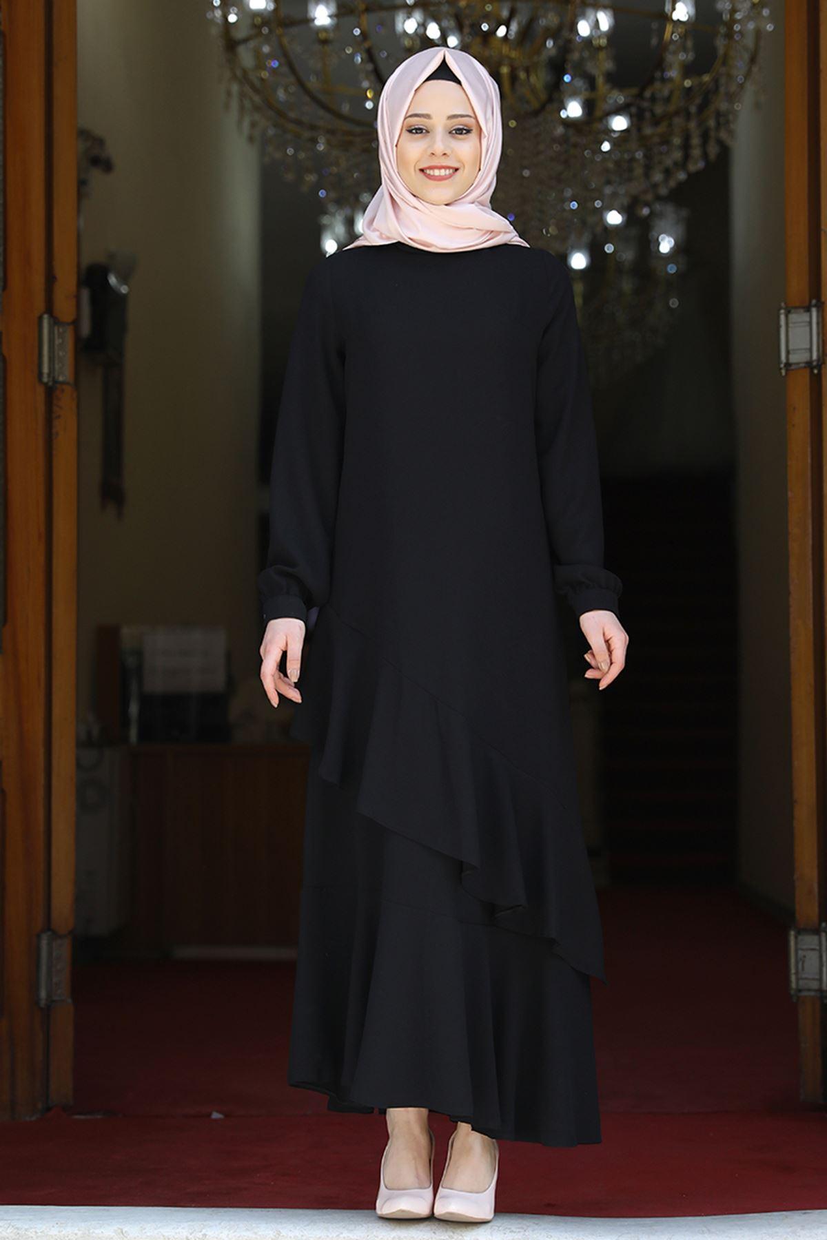 Amine Hüma Ceylin Abiye Siyah AMİ1056