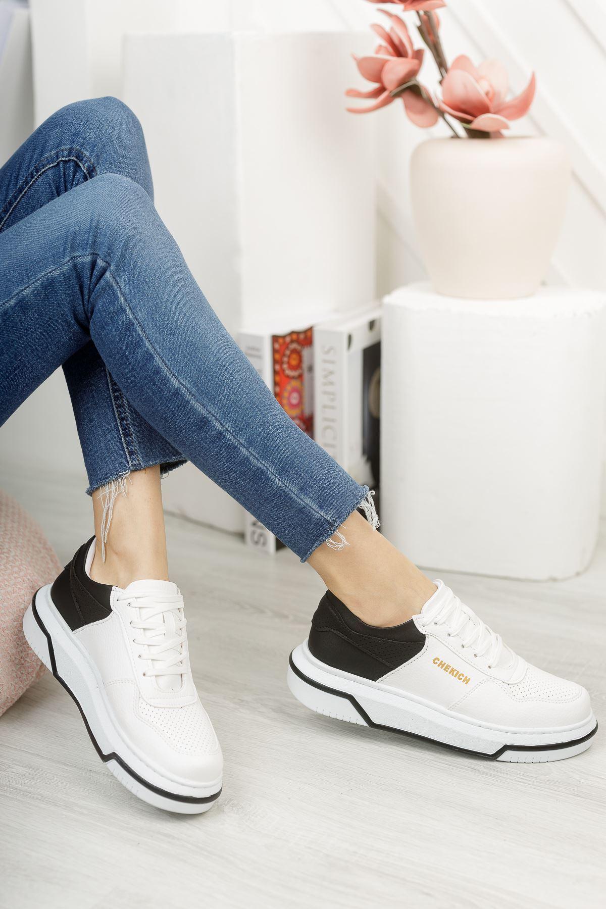Chekich CH075 İpekyol BT Kadın Ayakkabı BEYAZ / SİYAH