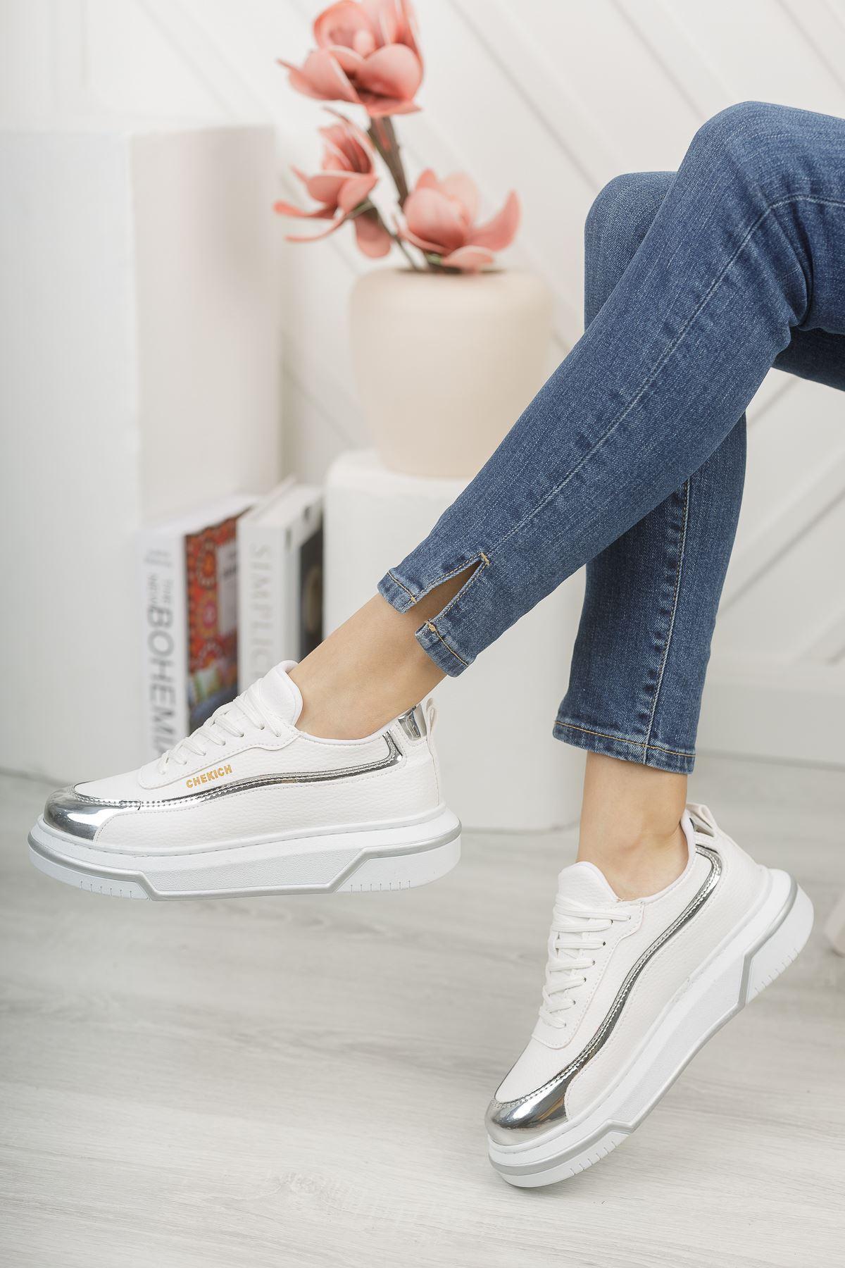 Chekich CH041 BT Kadın Ayakkabı BEYAZ / GUMUS