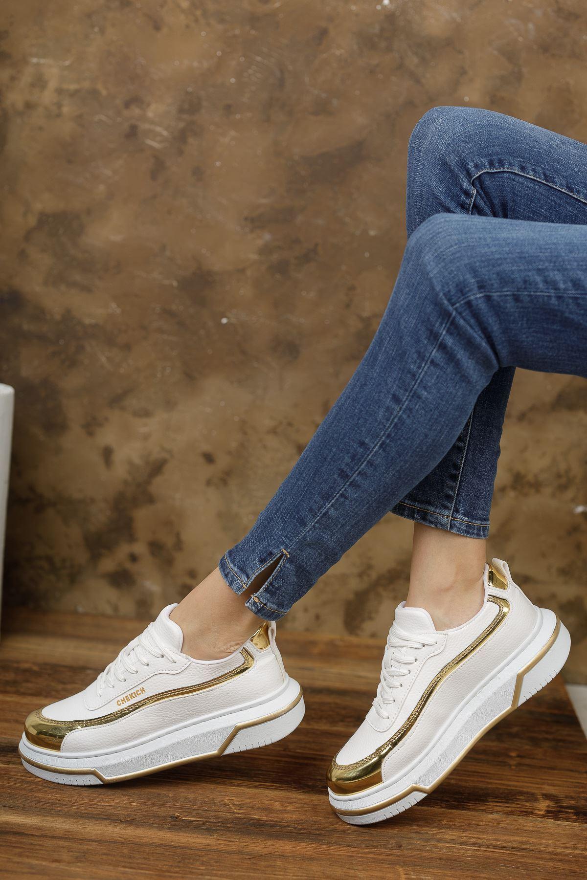 Chekich CH041 BT Kadın Ayakkabı BEYAZ / ALTIN