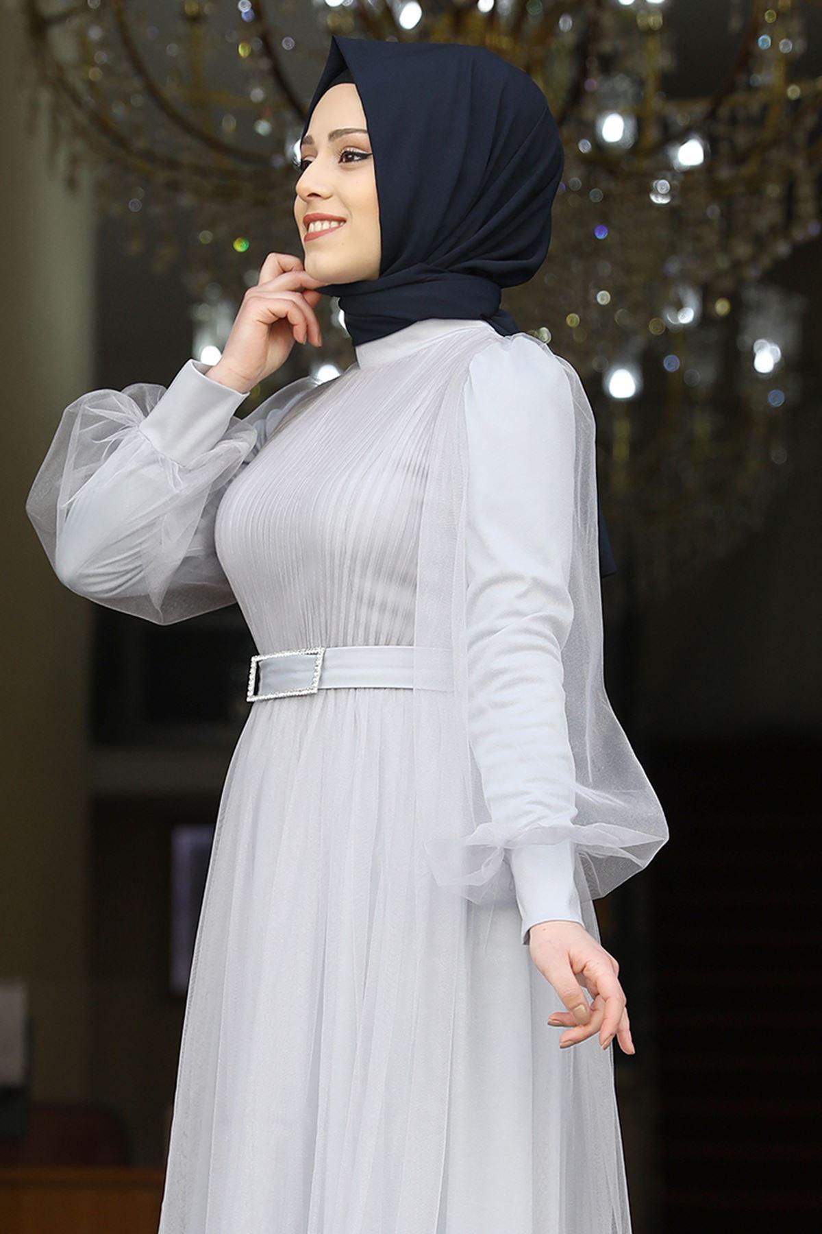 Amine Hüma Gonca Abiye Gri AMİ1059