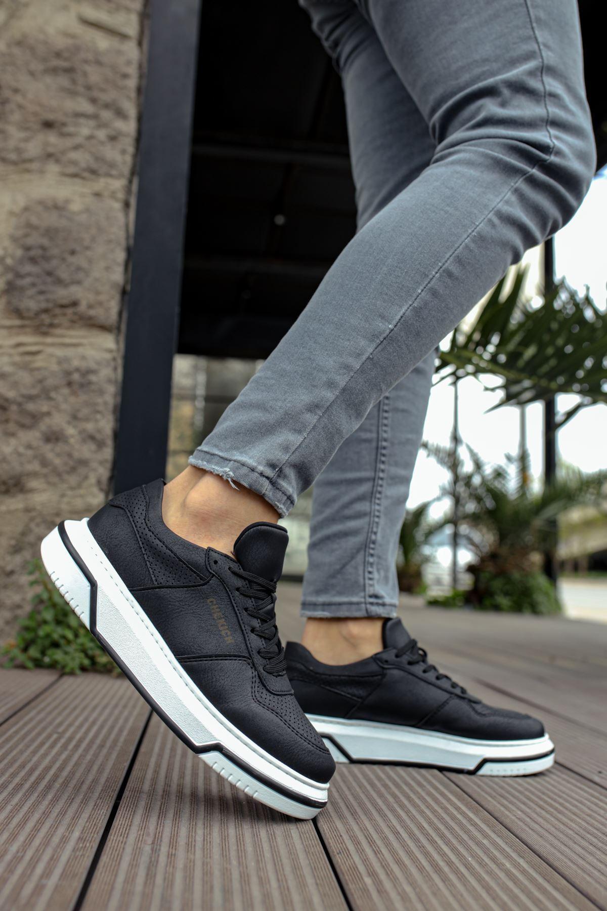 Chekich CH075 İpekyol Beyaz Taban Erkek Ayakkabı SIYAH