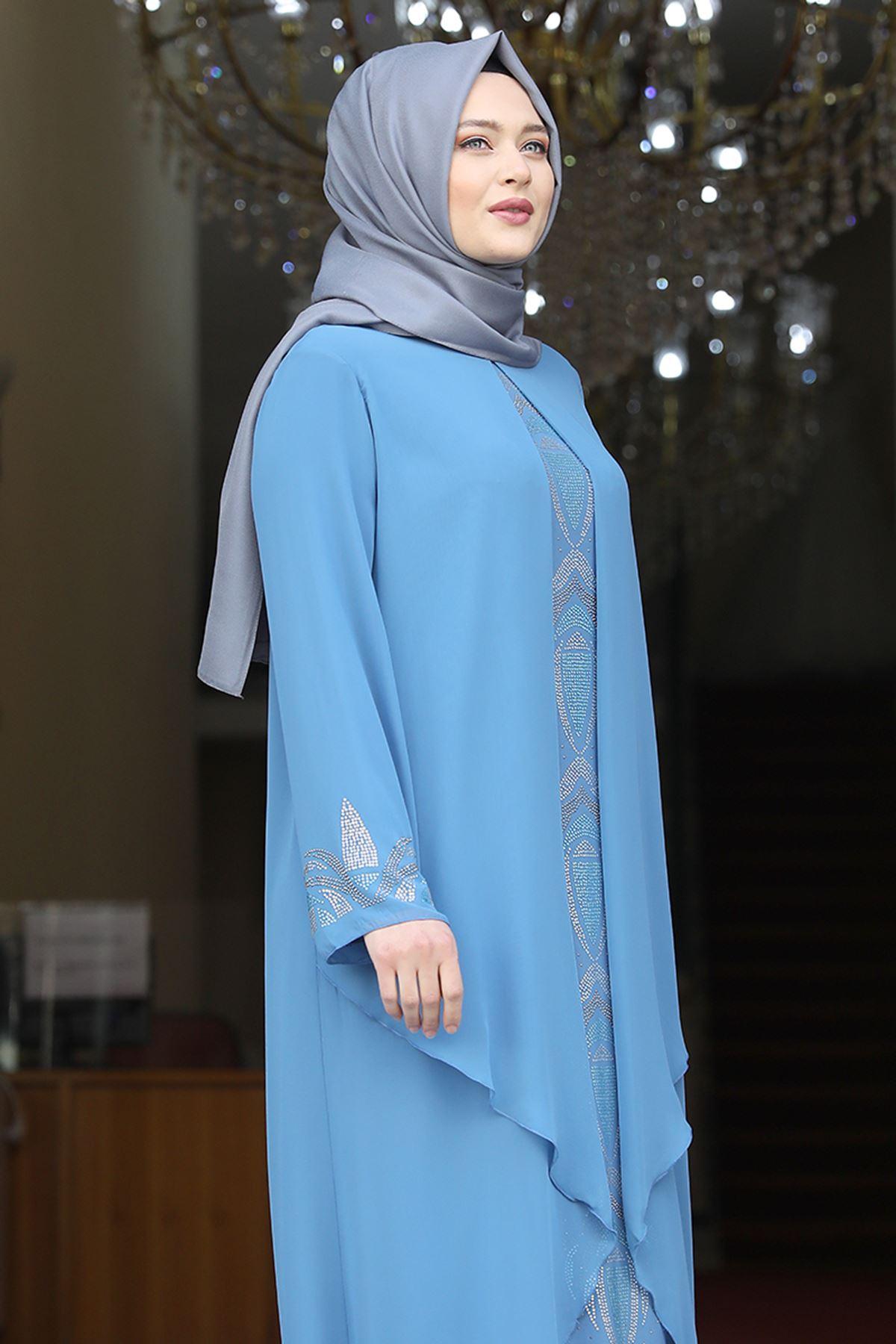 Amine Hüma Fulya Abiye Bebe Mavi AMİ1060