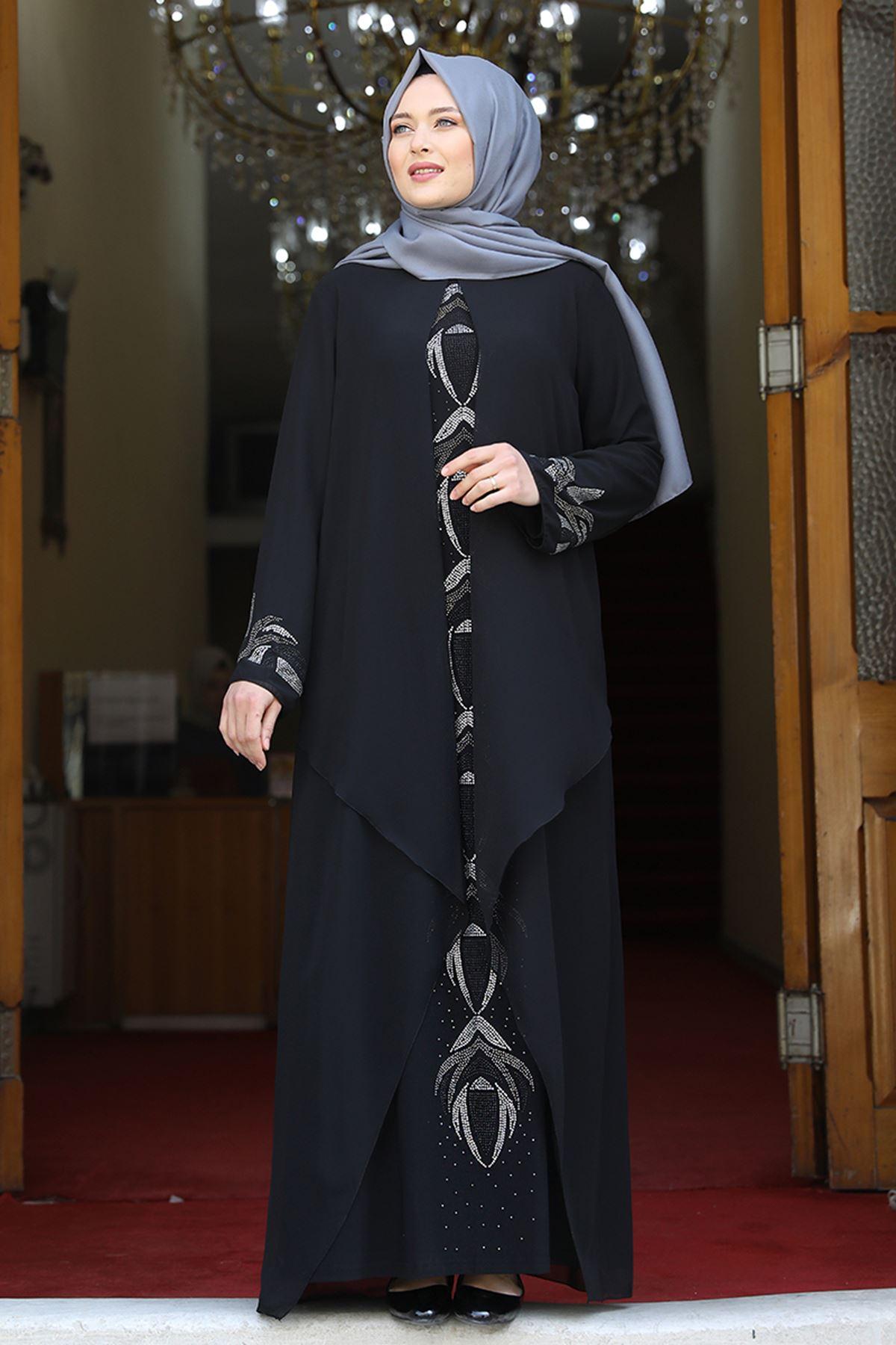 Amine Hüma Fulya Abiye Siyah AMİ1060