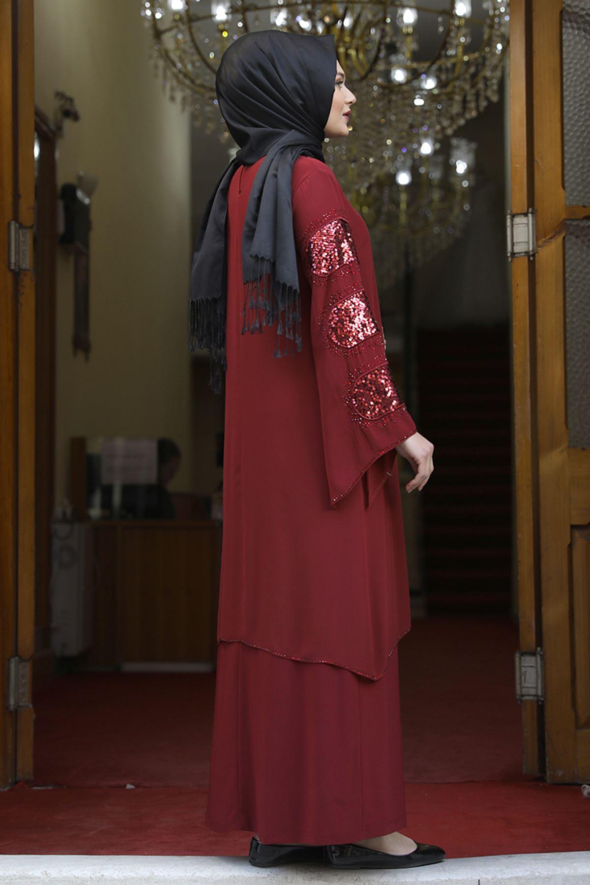 Amine Hüma Sahra Abiye Bordo AMİ1061