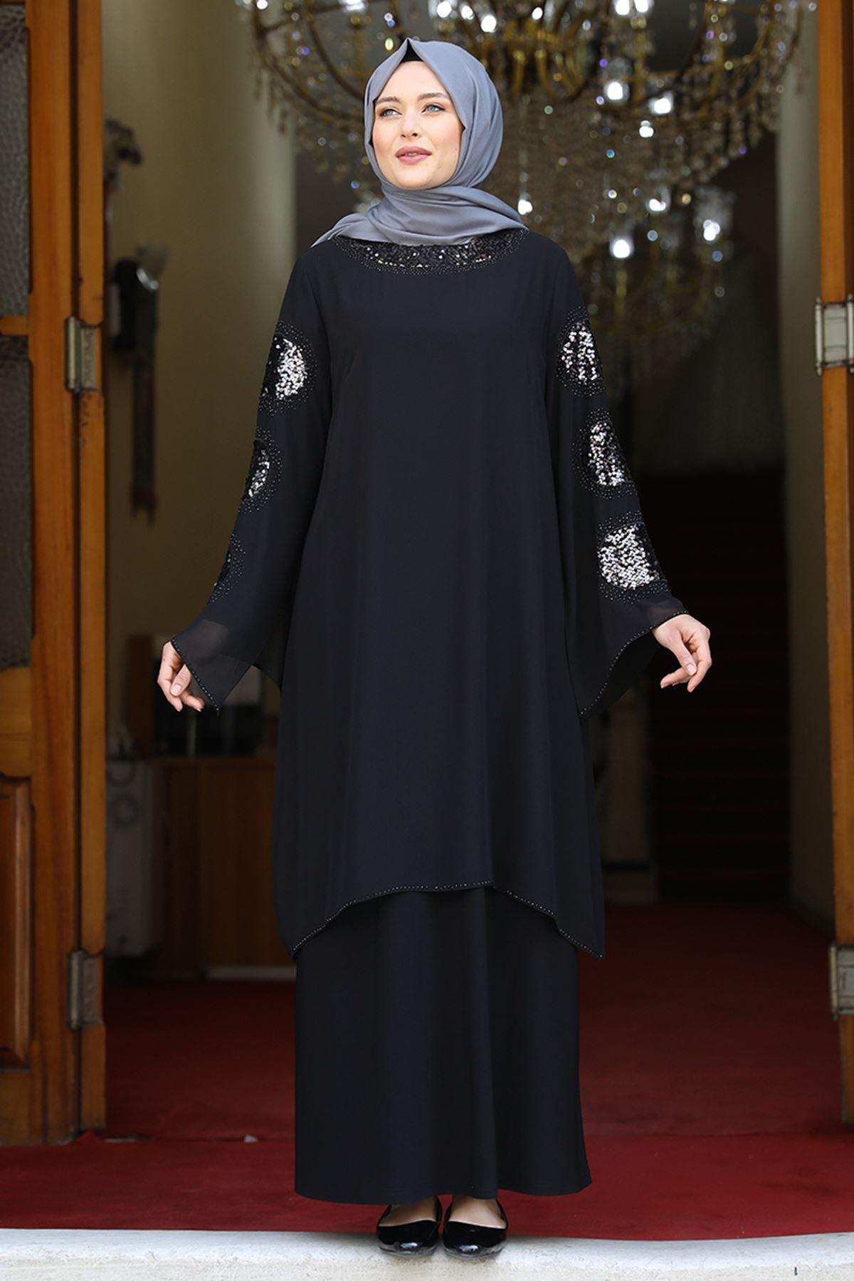 Amine Hüma Sahra Abiye Siyah AMİ1061