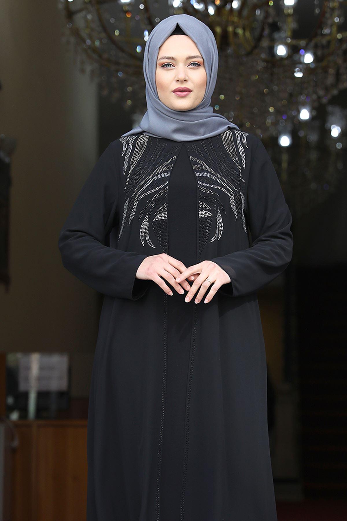 Amine Hüma Mine Abiye Siyah AMİ1064