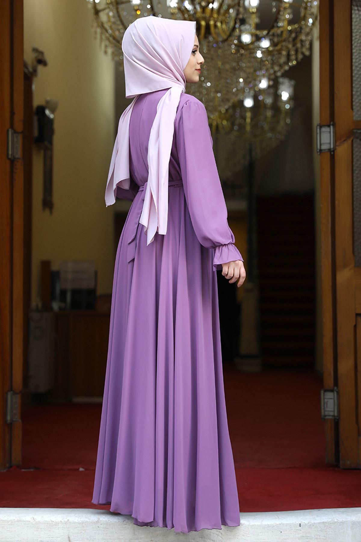 Amine Hüma Şura Elbise Lila AMİ1065