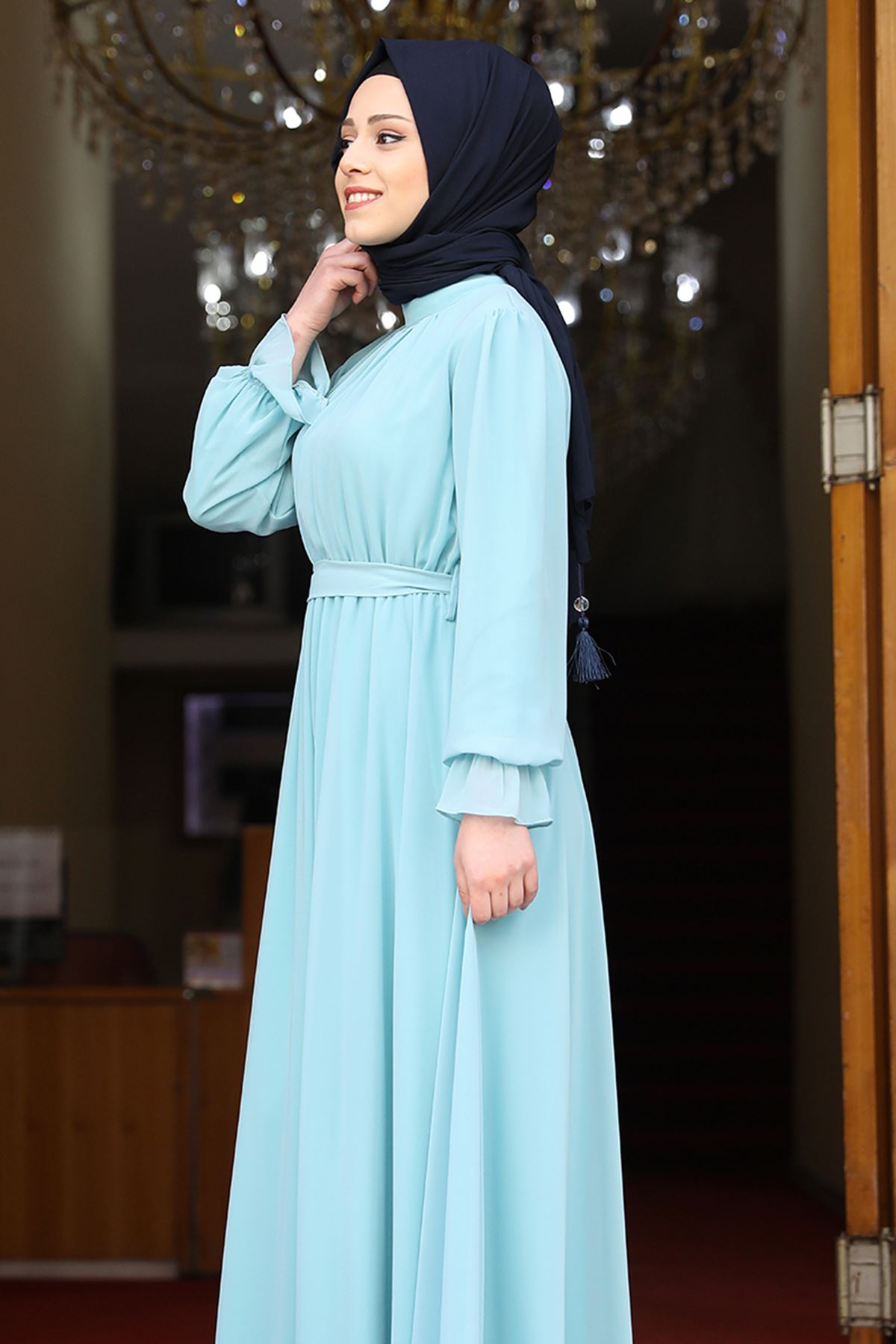Amine Hüma Şura Elbise Mint Yeşili AMİ1065
