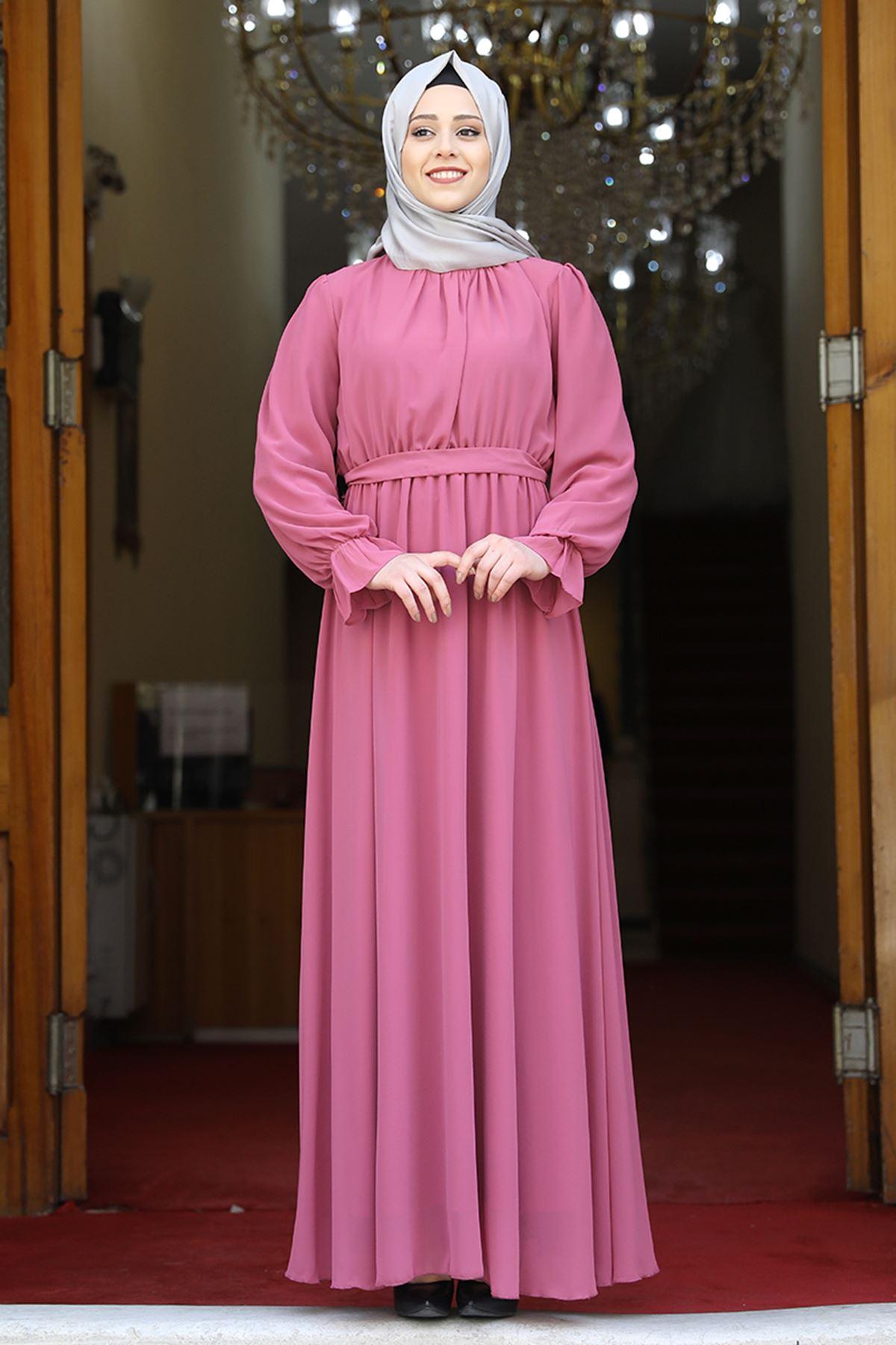 Amine Hüma Şura Elbise Pudra AMİ1065