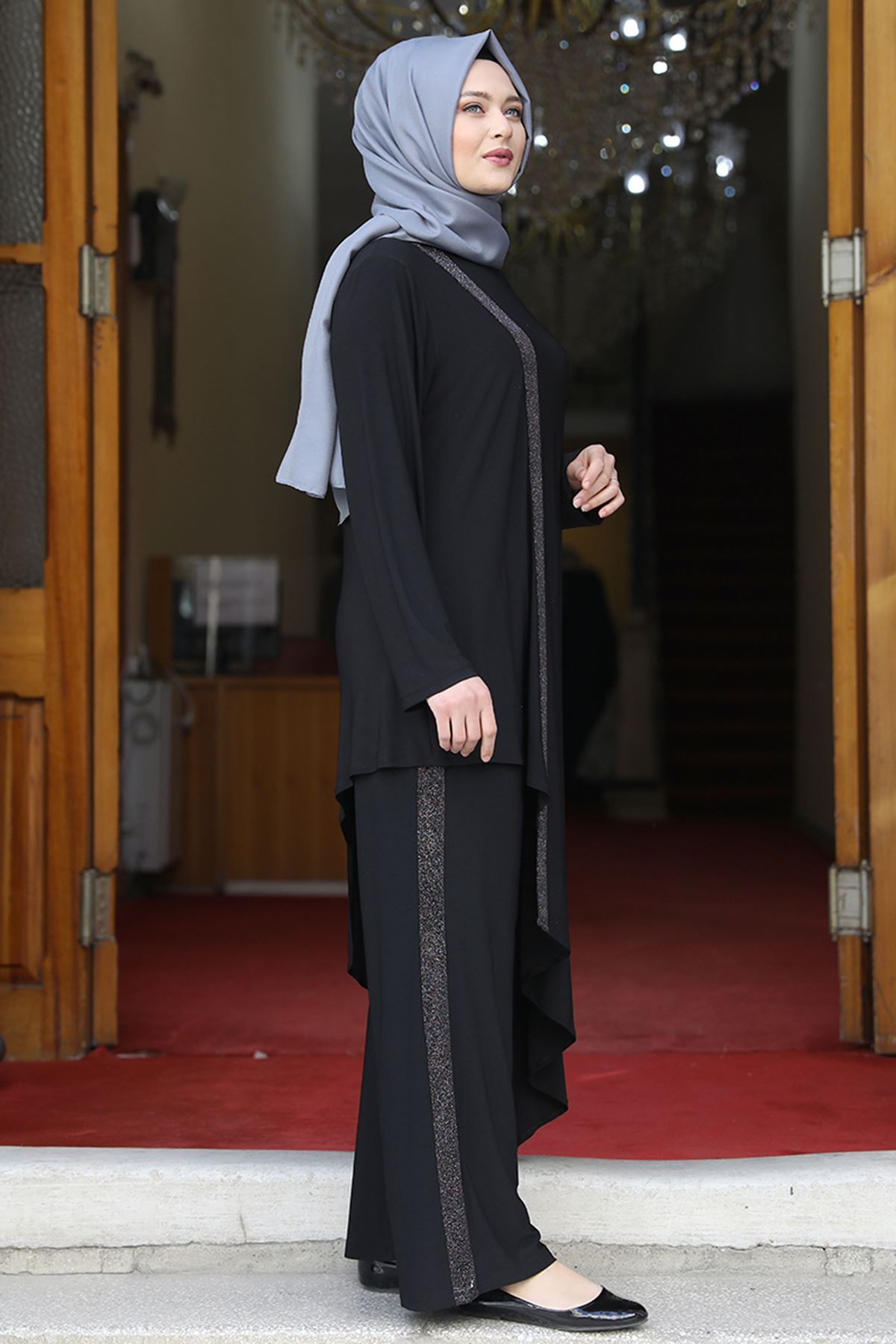 Amine Hüma Sim Şeritli İkili Takım Siyah AMİ1068