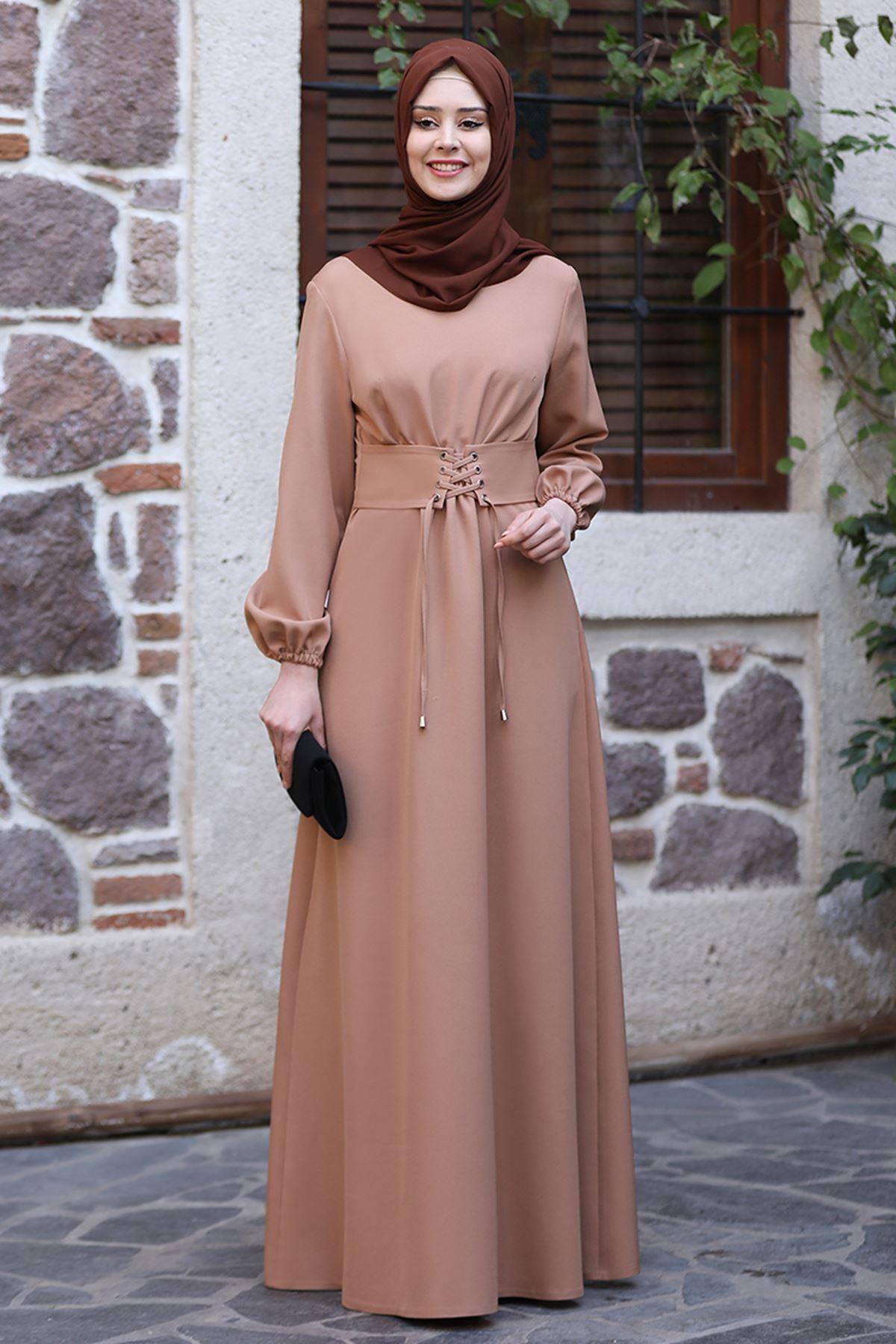Sefa Nisa Masal Elbise Camel SEF3506