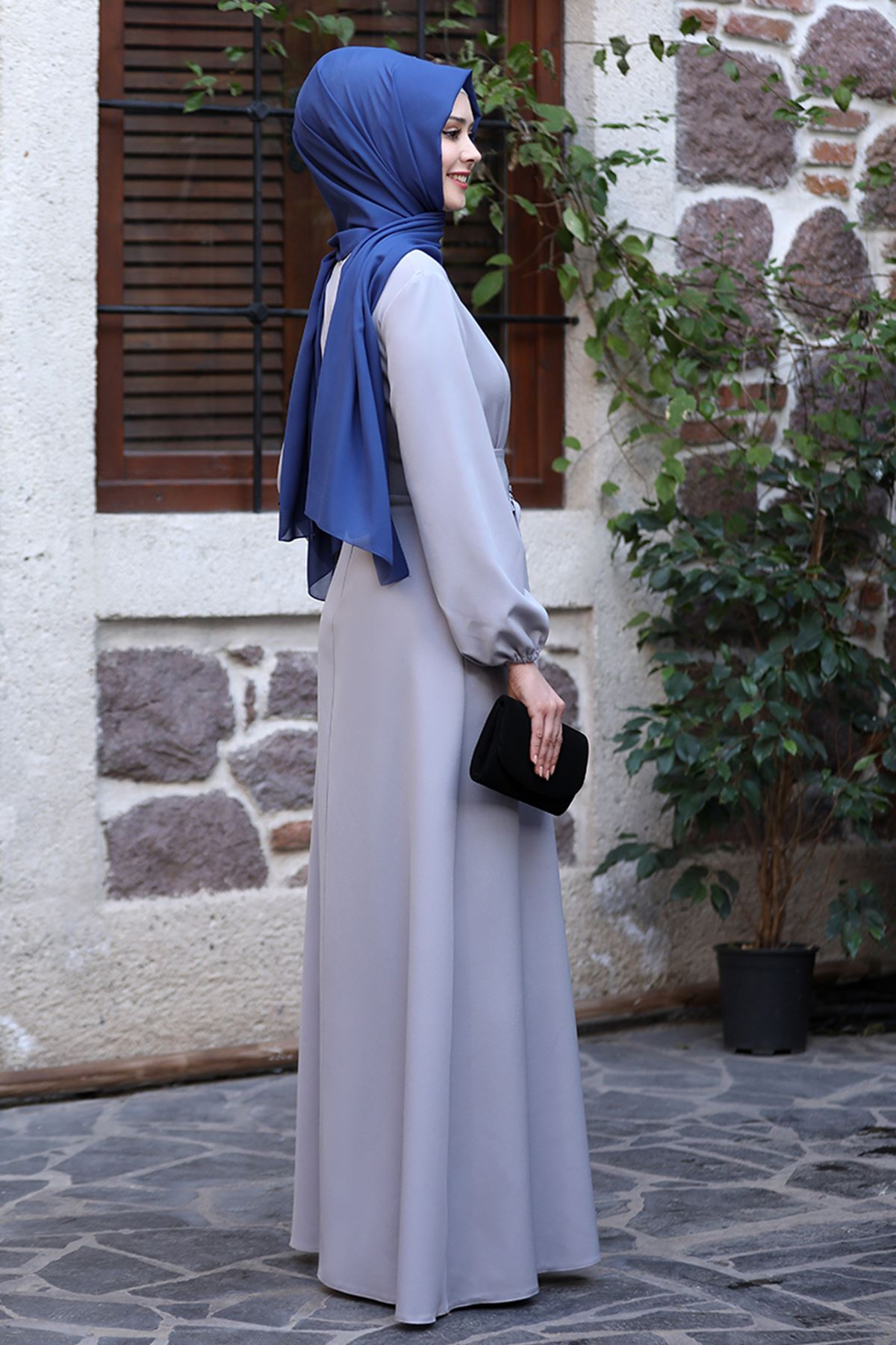 Sefa Nisa Masal Elbise Gri SEF3506
