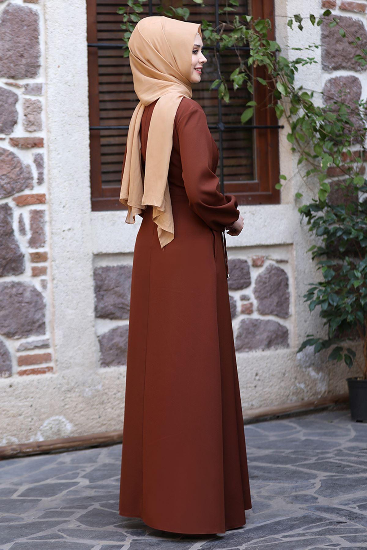 Sefa Nisa Masal Elbise Kahverengi SEF3506