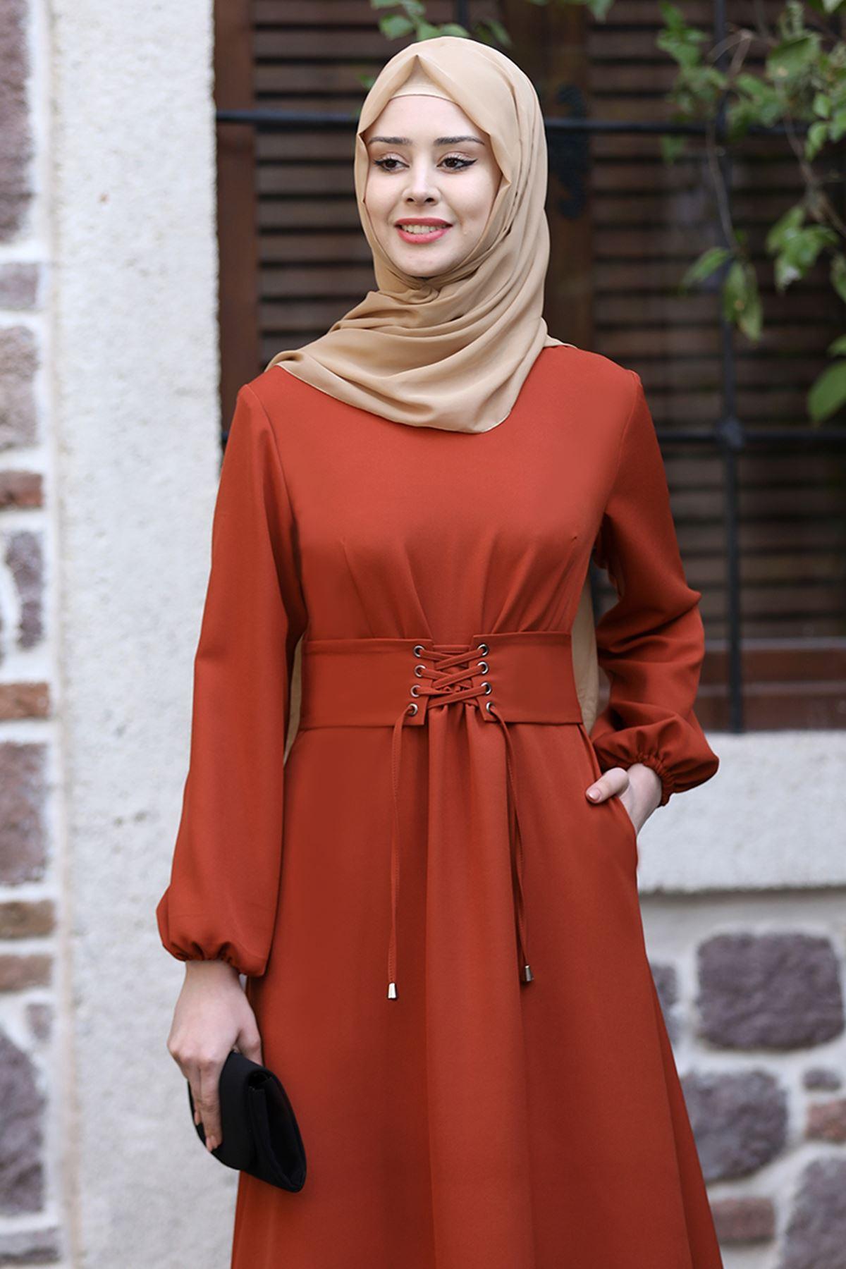Sefa Nisa Masal Elbise Kiremit SEF3506