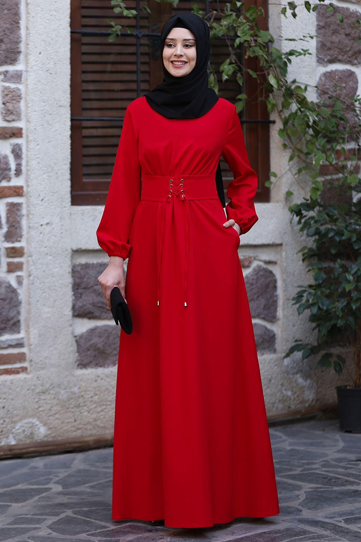 Sefa Nisa Masal Elbise Kırmızı SEF3506
