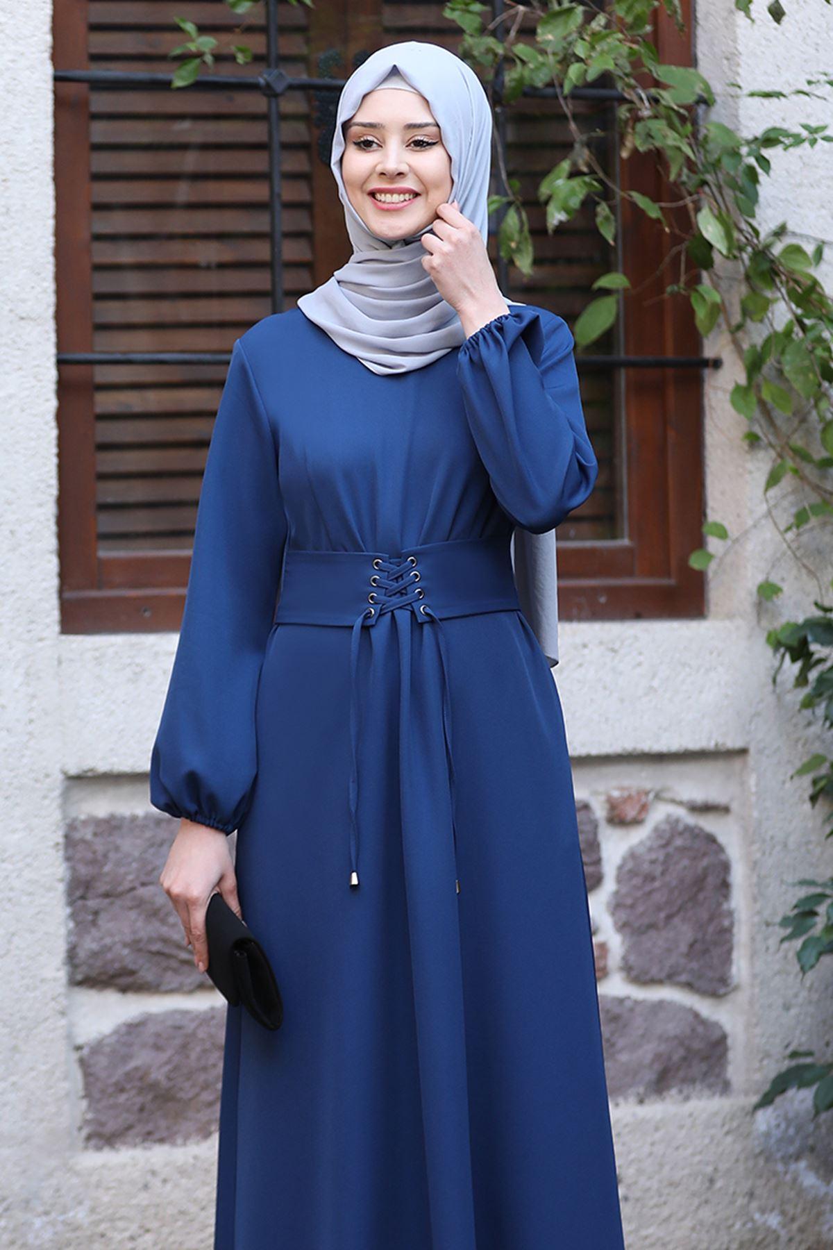 Sefa Nisa Masal Elbise İndigo SEF3506