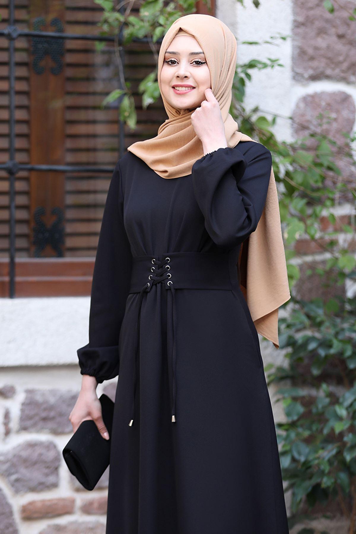 Sefa Nisa Masal Elbise Siyah SEF3506