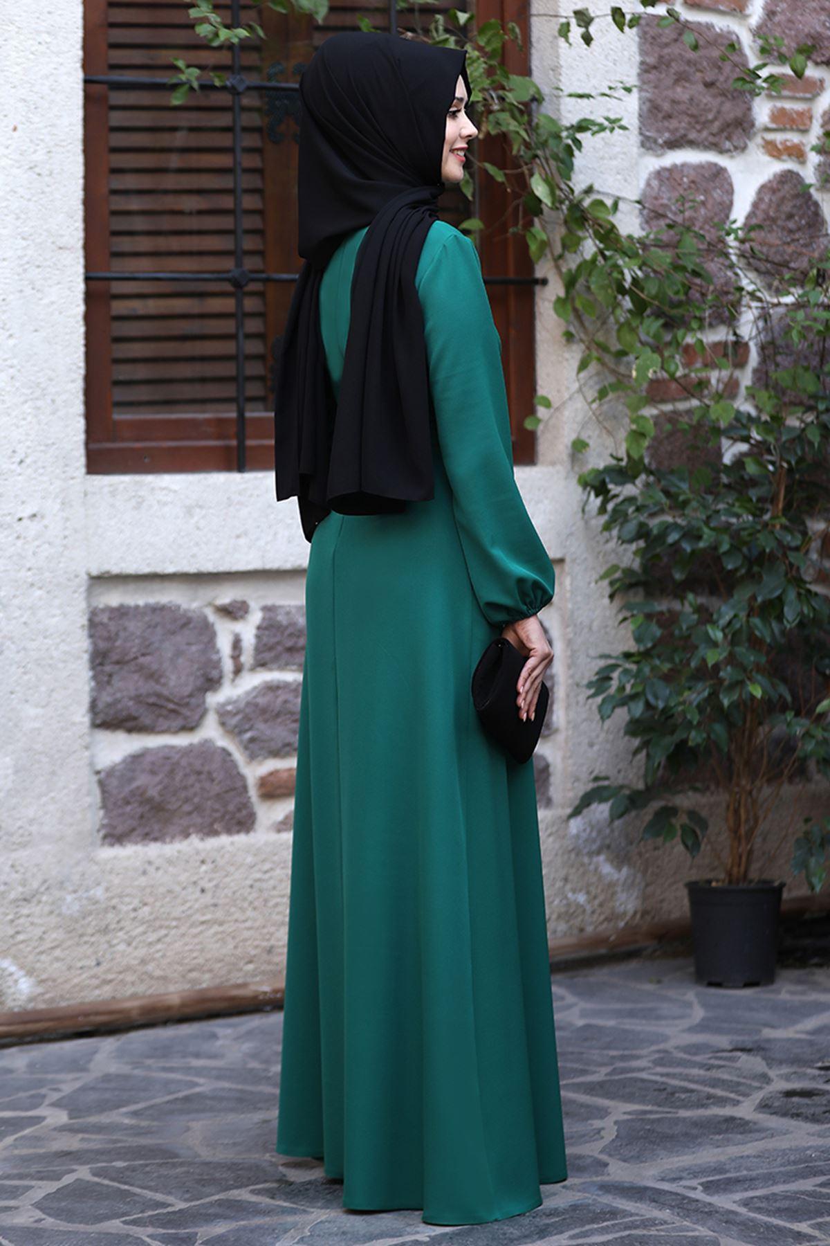 Sefa Nisa Masal Elbise Zümrüt Yeşili  SEF3506