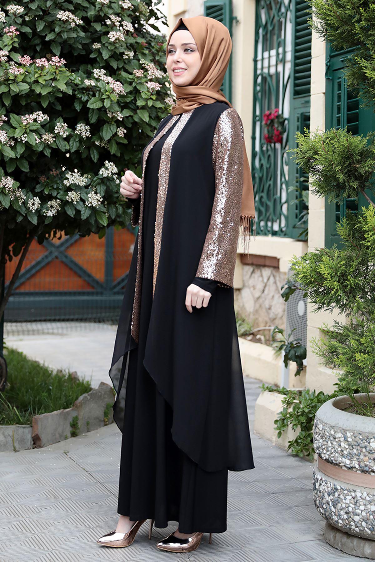 Emsale Aydan Abiye Siyah Gold EMS8324