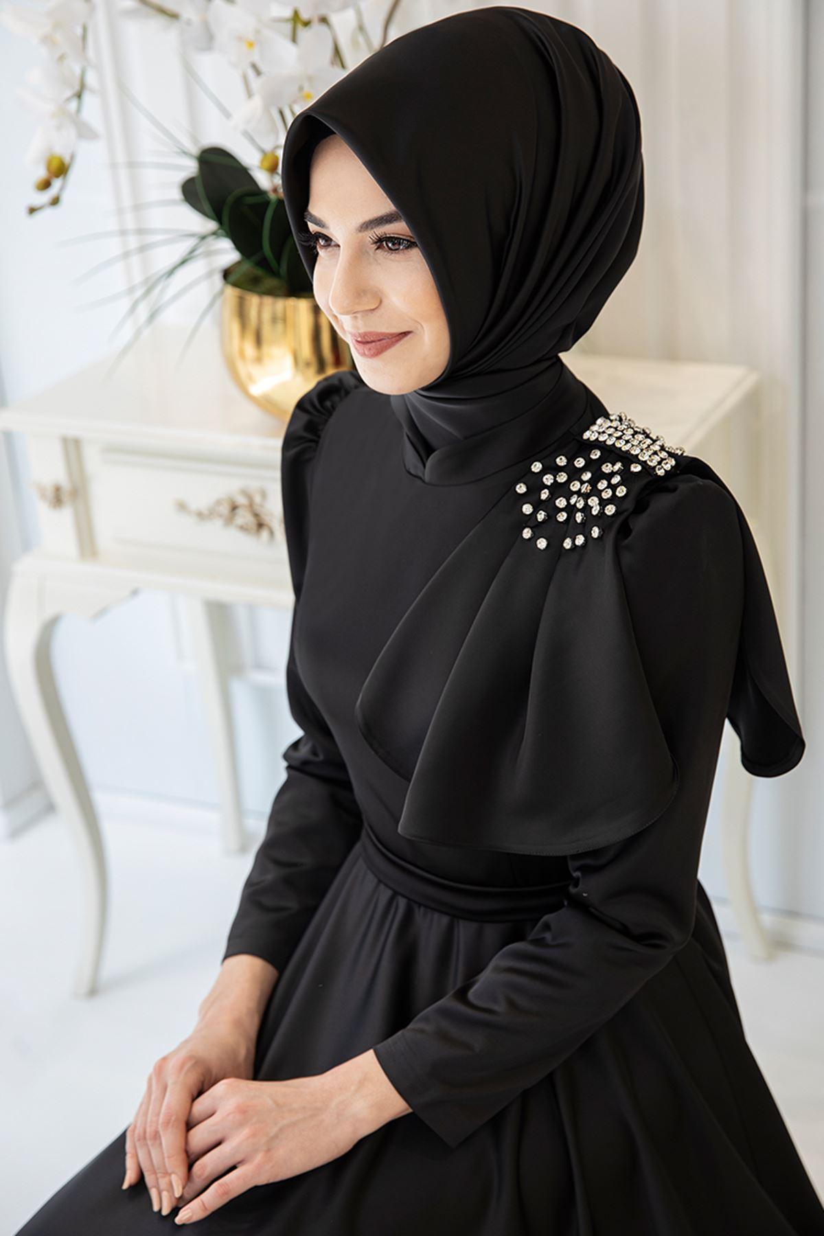 Pınar Şems Fiyonklu Saten Abiye Siyah PNR6136