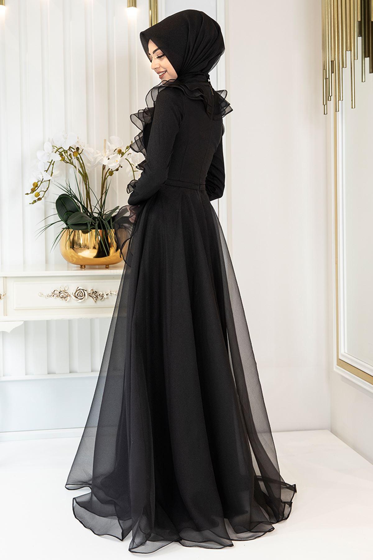 Pınar Şems Zara Abiye Siyah PNR6139
