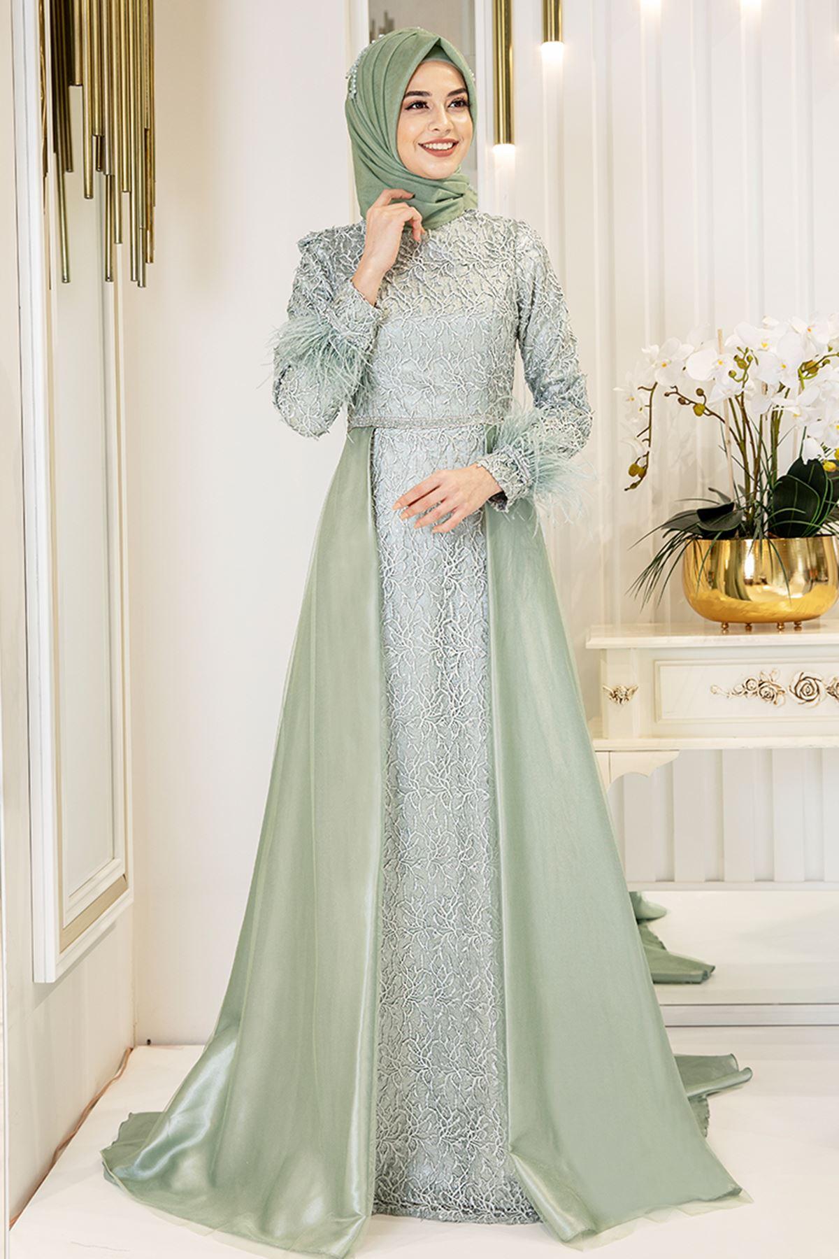 Pınar Şems Yeni Sarmaşık Abiye Mint PNR6142