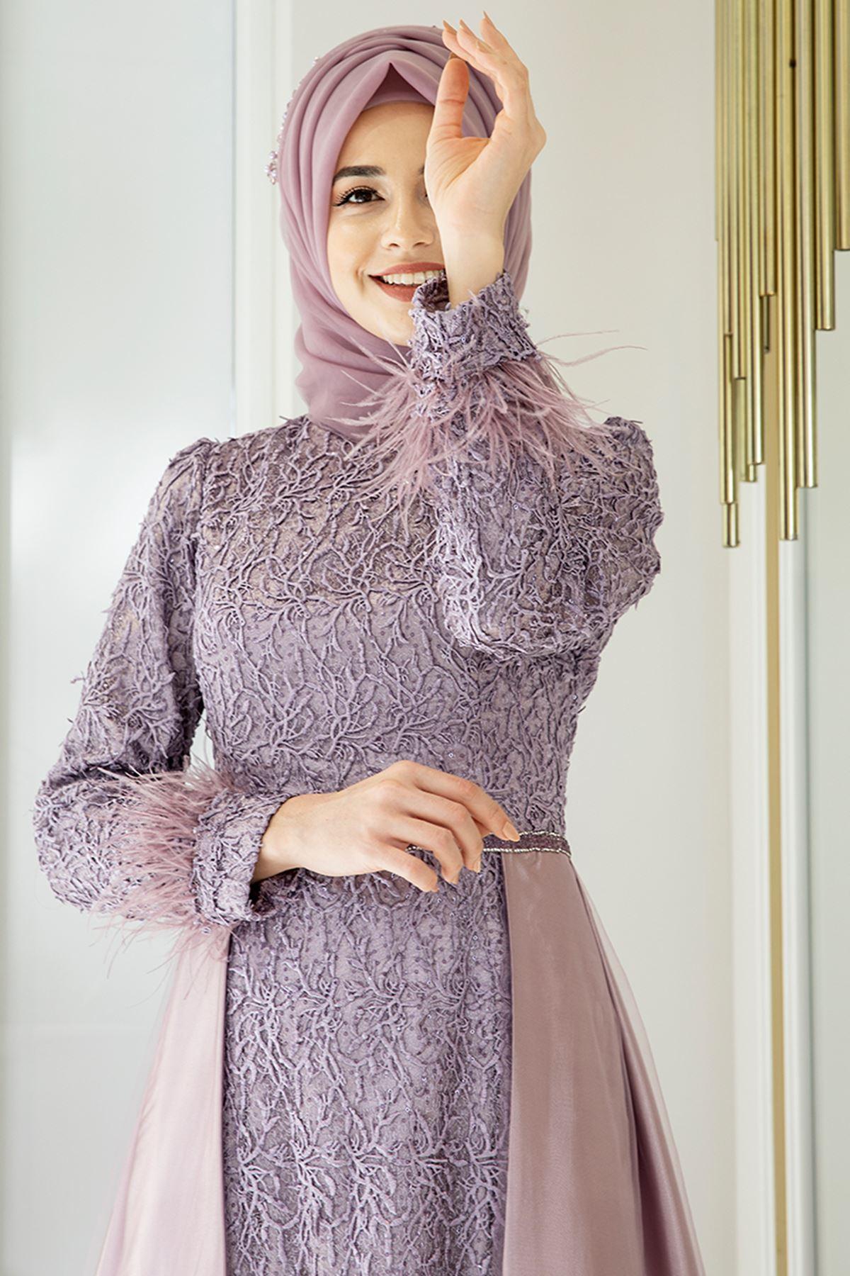 Pınar Şems Yeni Sarmaşık Abiye Leylak PNR6142