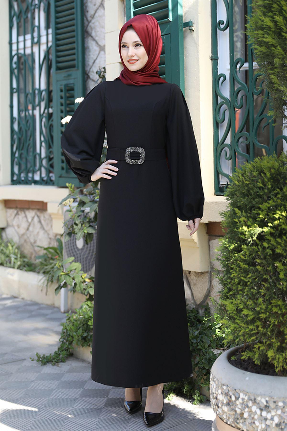 Emsale Aycan Elbise Siyah EMS8330