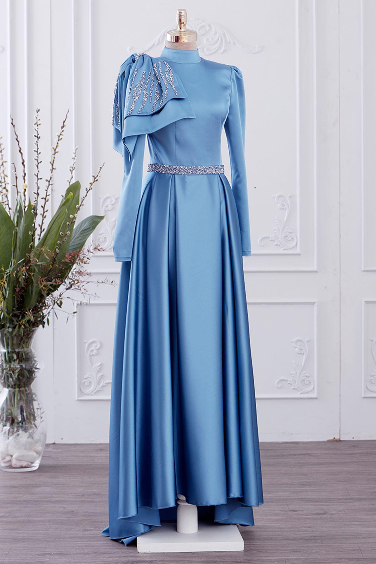 Gizem Kış Fiyonk Abiye Mavi GİZ5311
