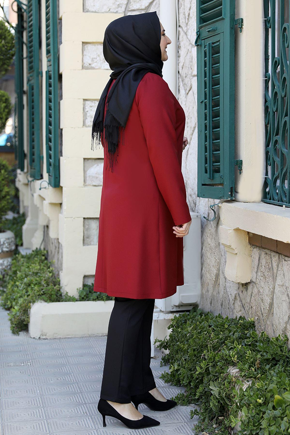 Emsale İpek Tunik Kırmızı EMS8335