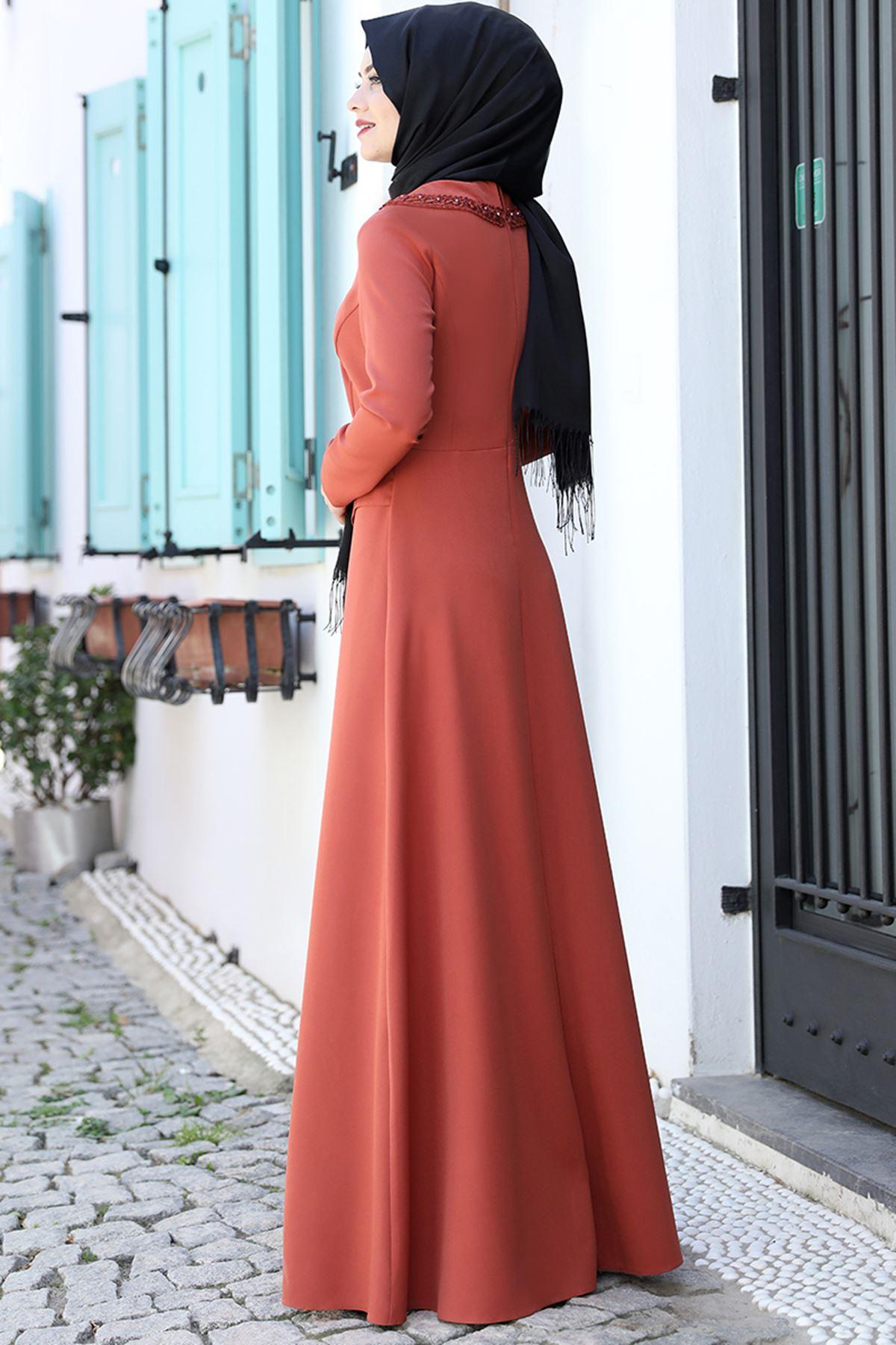 Ahunisa Ayliz Elbise Kiremit AHU9318