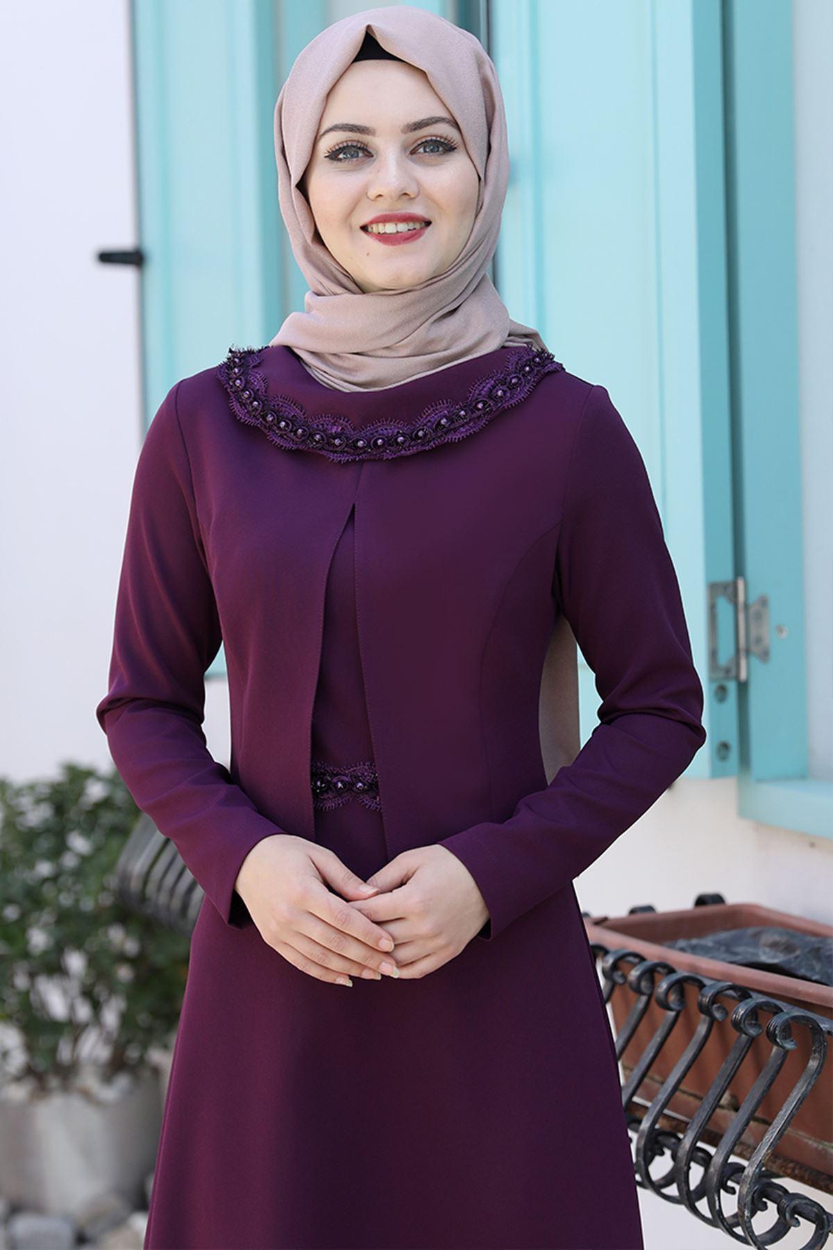 Ahunisa Ayliz Elbise Mürdüm AHU9318