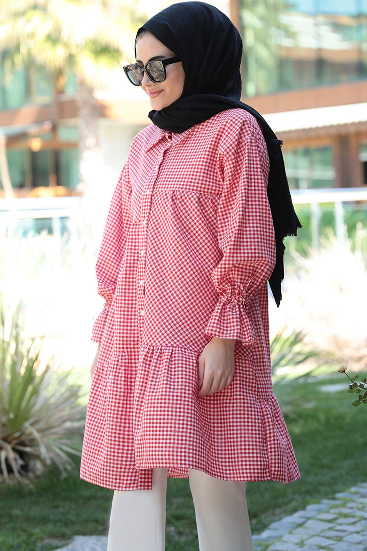 Seda Tiryaki  Maxi Tunik Kırmızı SED3704
