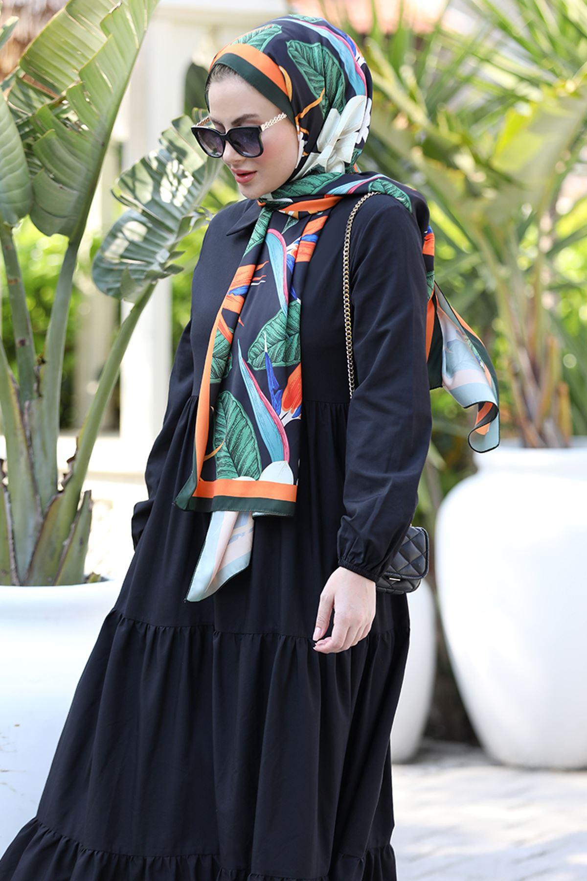 Seda Tiryaki Alaçatı Elbise Siyah SED3706