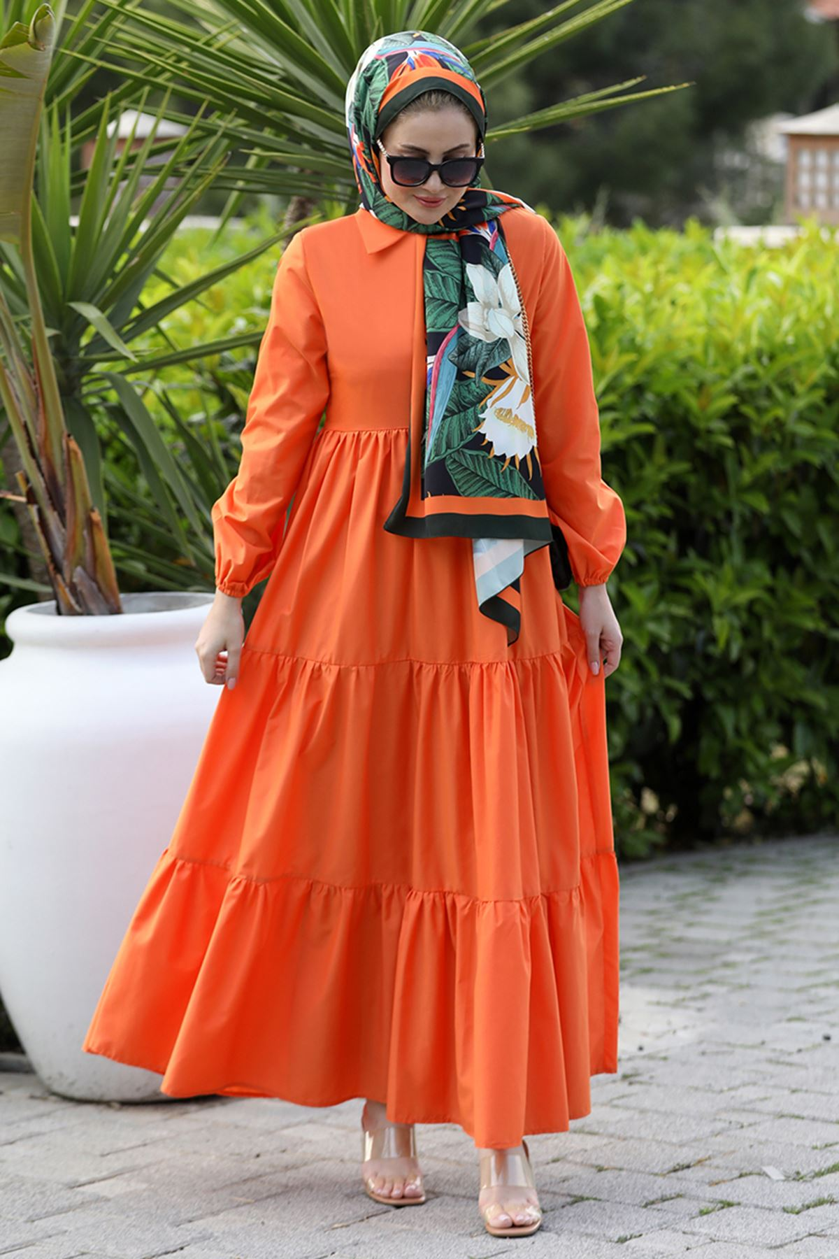 Seda Tiryaki Alaçatı Elbise Turuncu SED3706