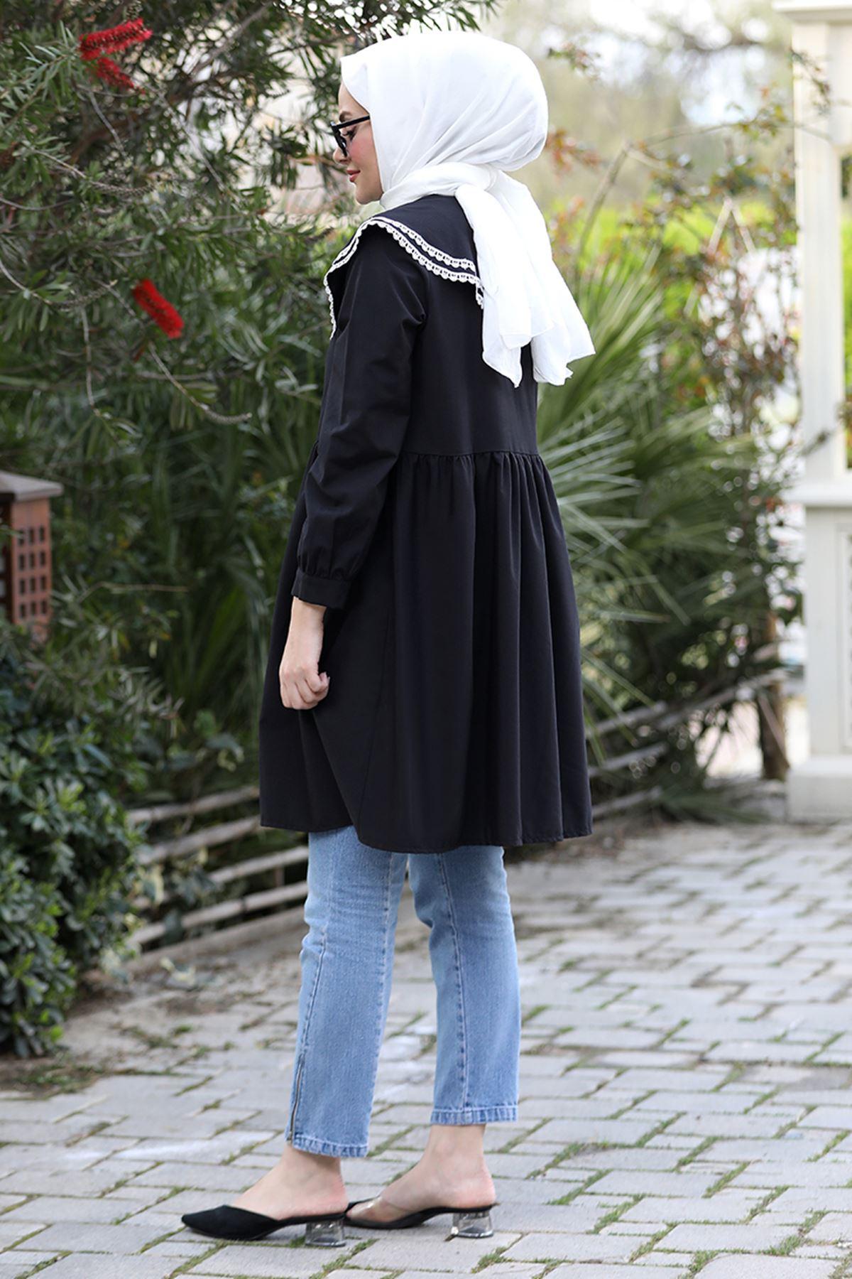 Seda Tiryaki  Yakası Dantelli Tunik Siyah SED3707