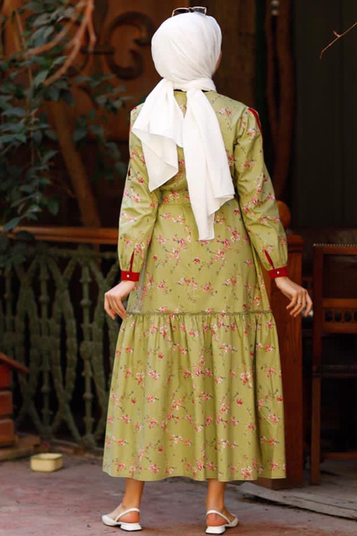 Hümeyra Arslan  Bahar Elbise Yağ Yeşili HÜM6310