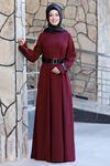 Semra Aydın Naz Elbise Bordo SMR4303