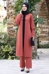 Ahunisa Feray Tunik Pantolon Takım Kiremit AHU9308