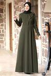 Rana Zenn Begüm Elbise Haki RAN6928